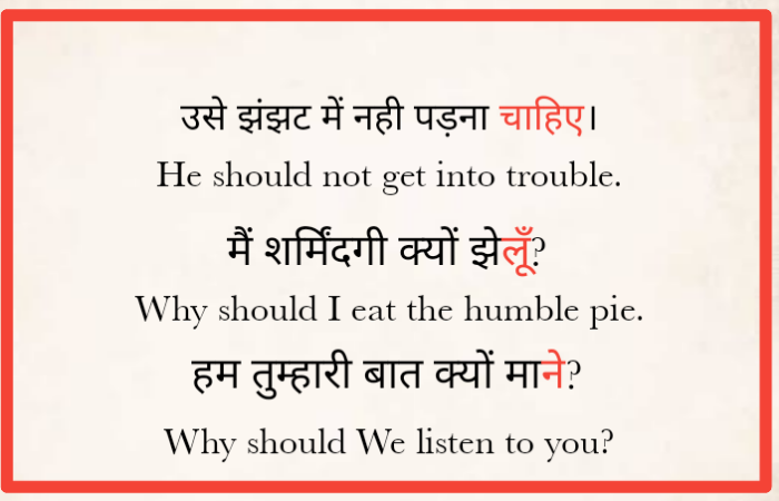 Use of should in hindi