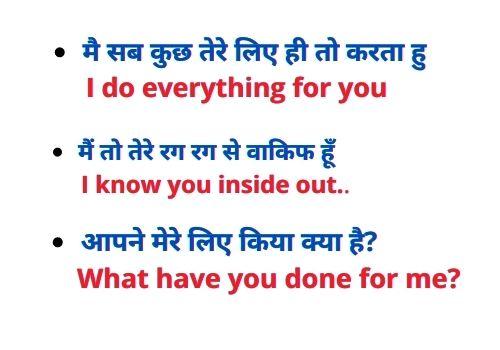 Daily use english sentences with hindi