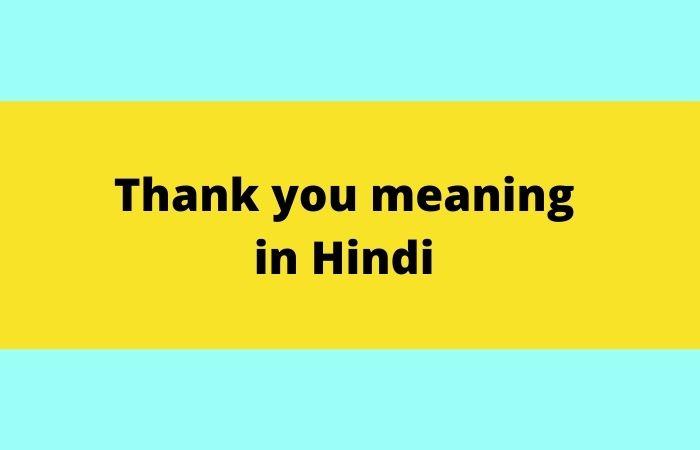 Thank you  in Hindi