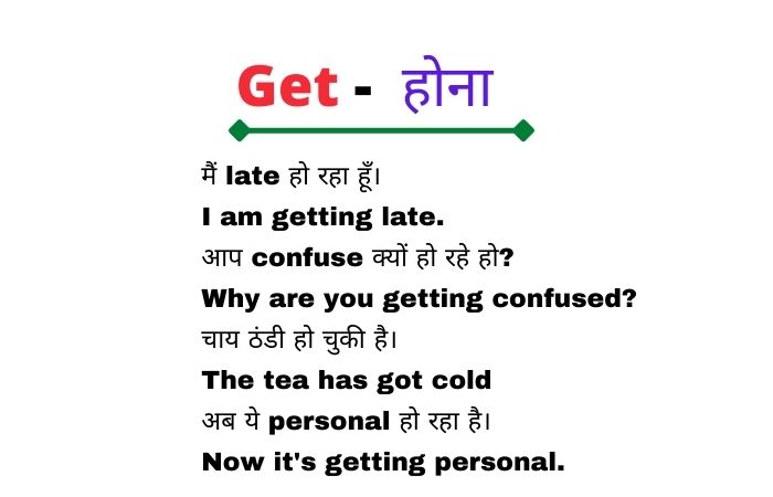 Use of Get in Hindi