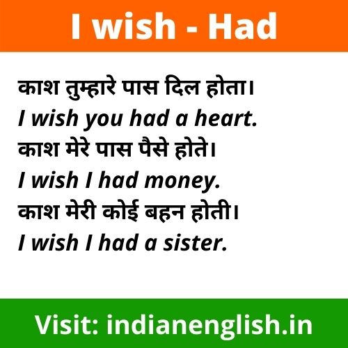 i wish meaning in hindi